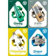 Szelektív hulladékgyűjtés matricák, beltéri