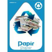 Szelektív hulladékgyűjtés matrica, kültéri (papír-kék,A4)