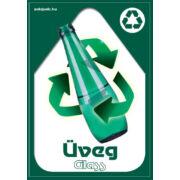 Szelektív hulladékgyűjtés matrica, kültéri (üveg-sötétzöld,A4)