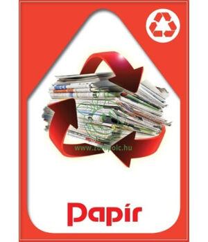 Szelektív hulladékgyűjtés matrica, kültéri (papír-piros,A4)