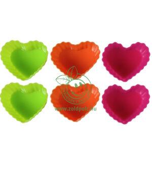 Szappanöntő forma, szilikon 6 db (szív)
