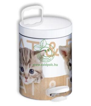 Pedálos szemetes, fém mintás (5l,kutyák és macskák)
