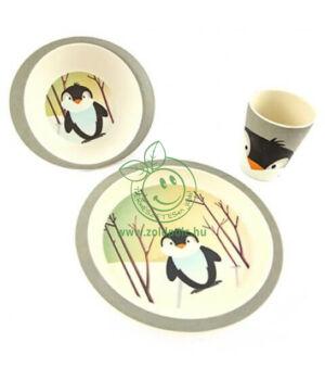 Gyerek bambusz étkészlet, Pure kids (pingvin)