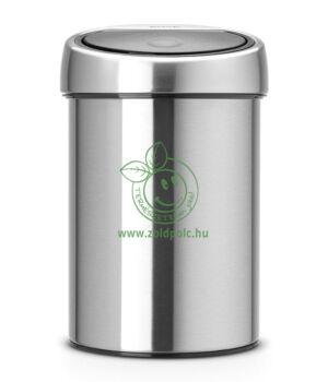 Érintőzáras szemetes, fém henger Touch Bin (3l,matt acél)