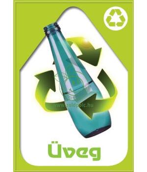 Szelektív hulladékgyűjtés matrica, kültéri (üveg-világoszöld,A4)