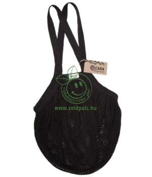 Extra erős hálós bevásárló táska biopamut 40×40 cm (fekete)