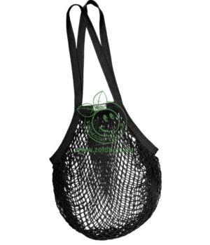 Hálós bevásárló táska biopamut, hosszú füles (fekete)