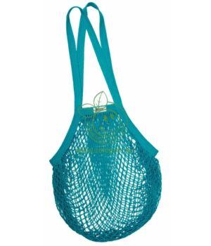 Hálós bevásárló táska biopamut, hosszú füles (kékeszöld)