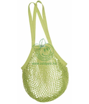 Hálós bevásárló táska biopamut, hosszú füles (lime)