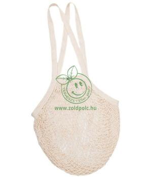 Hálós bevásárló táska biopamut, hosszú füles (natúr)