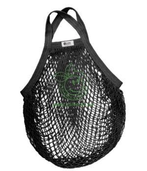 Hálós bevásárló táska biopamut, rövid füles (fekete)