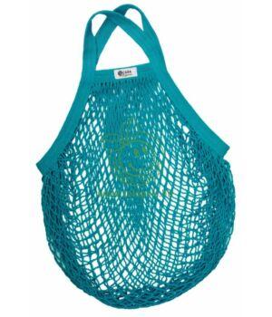 Hálós bevásárló táska biopamut, rövid füles (kékeszöld)