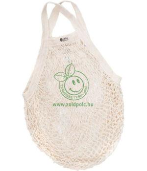 Hálós bevásárló táska biopamut, rövid füles (natúr)