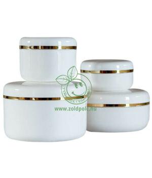 Műanyag tégely aranycsíkkal, fehér (30ml)