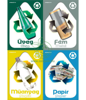 Szelektív hulladékgyűjtés matrica (csomag,A5)