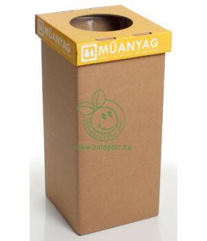 Szelektív kuka erősített kartonból 20l (műanyag-magyar)